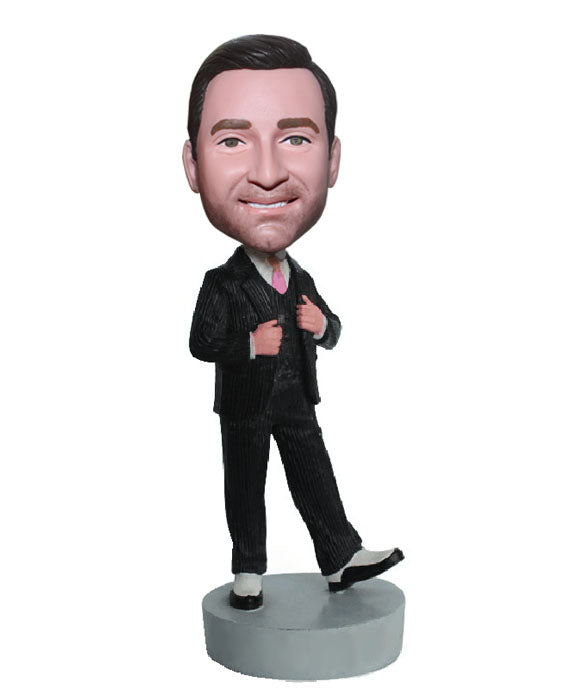Customized Suit Bobblehead, Custom Groomsmen Bobblehead, Personalized Groom Bobblehead - Abobblehead.com