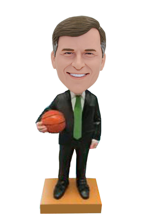 Customized Suit Boobleheads With Basketball, Personalized Basketball Bobblehead - Abobblehead.com