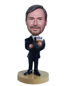 Custom Microphone Bobbleheads TV Host Doll, Custom Favorite News Reporter Bobblehead - Abobblehead.com