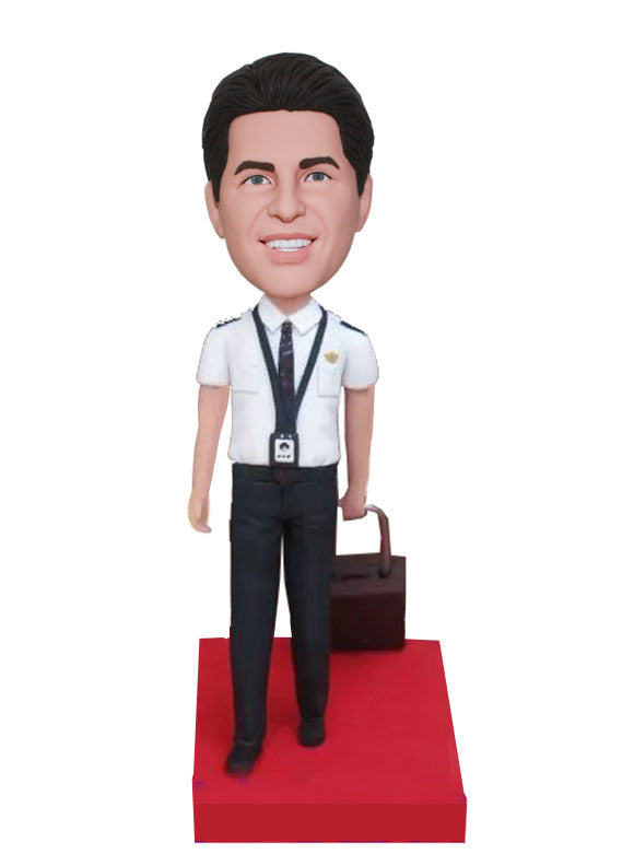 Custom Flight Attendants Bobblehead, Air Force Flight Suit Bobbleheads, Custom Bobble Heads Airplane - Abobblehead.com