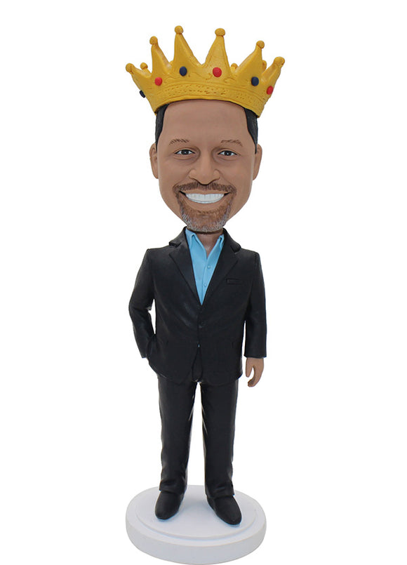 Custom Boss Bobblehead With Crown, Customized King Bobblehead - Abobblehead.com