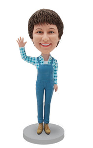 Custom Denim Overalls Women Bobblehead From Your Photo - Abobblehead.com