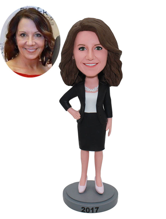 Personalized Office Bobbleheads Women, Custom Boss Bobbleheads From Photo - Abobblehead.com
