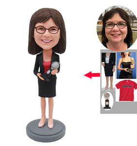 Custom Women Bobbleheads With Trophy, Build Your Own Bobblehead Trophy - Abobblehead.com