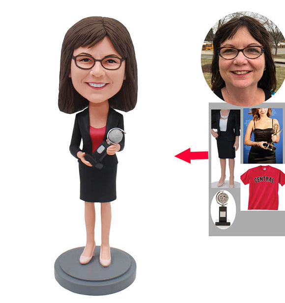Custom Women Bobbleheads With Trophy, Build Your Own Bobblehead Trophy