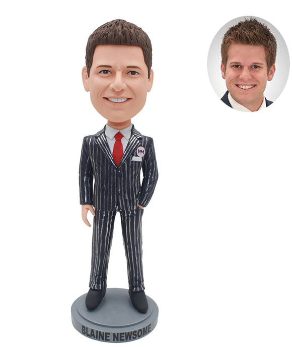 Custom Man In Suit Bobblehead, Custom Bobblehead Man In Suit - Abobblehead.com