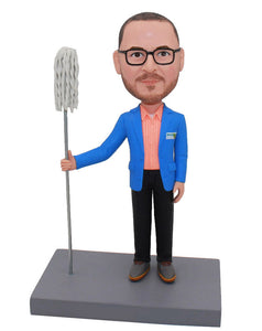 Bobblehead Manufacturers: Custom Bobbleheads Man With Mop - Abobblehead.com