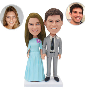 Custom Wedding Bobbleheads Cake Topper, Personalized Bride And Groom Bobbleheads - Abobblehead.com