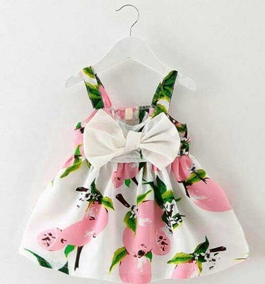 Cotton bow dress pink