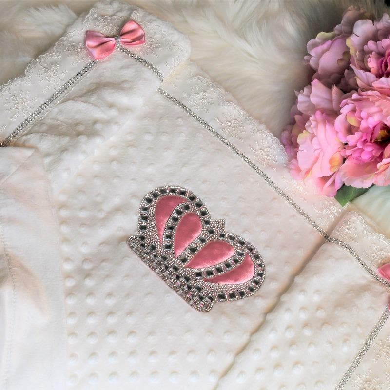 Baby pink crown blanket