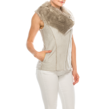 Load image into Gallery viewer, Urban Diction Women Grey Faux Fur Neckline Vest W/ Faux Fur Lining