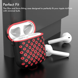 2-Pack Case Cover for Earbuds, Portable Durable Impact-Resistant Case Skin Cover with Anti-Lost Keychain Case Compatible for Apple Airpod Case 2&1