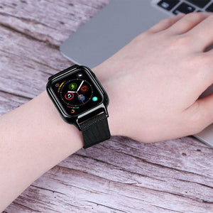 Milanese Loop bracelet+case strap for Apple Watch band 44 mm 40mm iWatch4 5 band  stainless steel milanis plus framed body strap