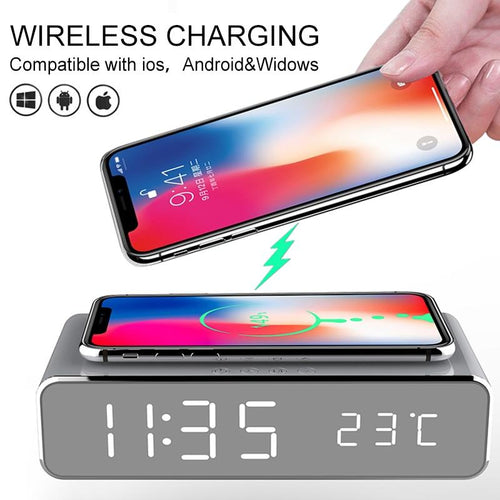 Fast Wireless Charger LED Alarm Clock Phone Wireless Charger Charging Pad Thermometer For IPhone 11 Pro XS Max X 8 Plus Samsung
