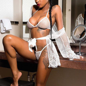 Sexy Lingerie Set Hot Erotic Bra G-string Women Set Lace Up Crochet Crotchless Underwear Perspective Porno Sleepwear Intimate