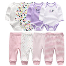 Load image into Gallery viewer, 4pcs Baby Bodysuits+4pcs Baby Pants Newborn Clothes Sets 2020 Winter Cotton Suits girls boys Custome Roupa de bebe Clothing