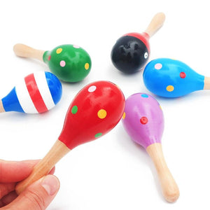1Pc 12x4cm Infant & Toddlers Wood Sand Hammer Wooden Maraca Rattles Sand Hammer Kids Musical Party Favor Child Baby Shaker Toy