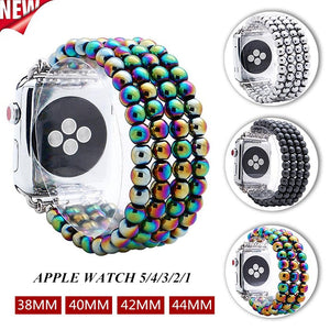 Lureen Elastic Apple Watch Band 38/40/42/44mm, with Free Watch Case, Unisex Fashion Handmade Bracelet Strap for iWatch 5/4/3/2/1