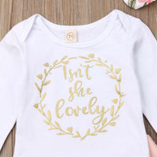Load image into Gallery viewer, Baby Girls Clothes Set 2019 Toddler Infant Newborn Autumn Long Sleeve Letter Bodysuit Flower Pants Headband Outfit 3PCS Clothing