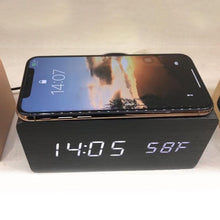 Load image into Gallery viewer, Hight Quality Multi-Function Alarm Clock Wireless Charger Wooden Clock for Apple Samsung Huawei Smart Phone