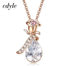 Load image into Gallery viewer, Cdyle Boho Jewelry Gold Necklace Chain Pink Crystal Rose Flower Pendant Necklace with Zircon for Female Wedding Anniversary Gift - shopsatang.com