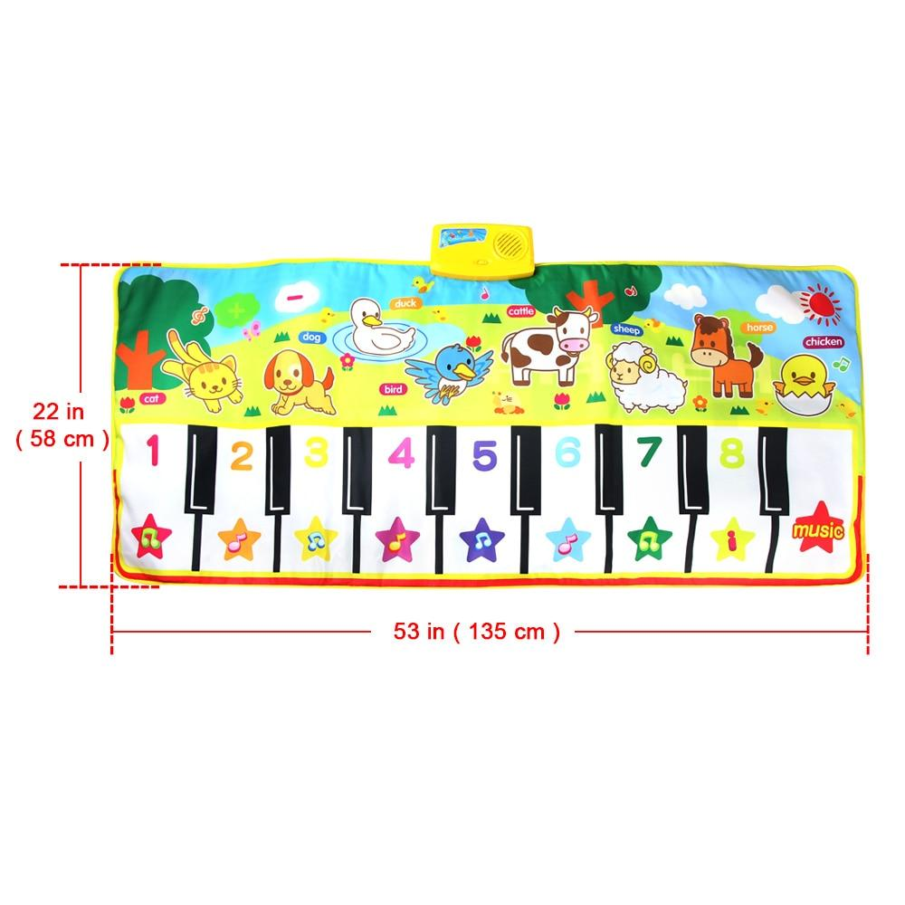135X58CM Large Size Musical Mat Baby Animal Theme Educational Learning Toy Children Baby Toy  Infantil Playing Type Music Mat (1 pcs)