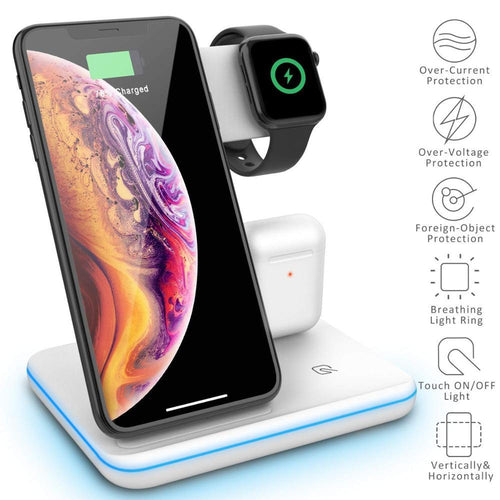 3 in 1 15W Qi Wireless Charger For iPhone XS XR X 8 11 Samsung S10 S9 Fast Charging Dock Station for Apple Watch 5 4 Airpods Pro