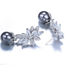 Load image into Gallery viewer, Women Creative Fashion Exquisite White Copper Leaves Beads Dangle Earrings Jewelry Ornament