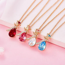 Load image into Gallery viewer, Cdyle Boho Jewelry Gold Necklace Chain Pink Crystal Rose Flower Pendant Necklace with Zircon for Female Wedding Anniversary Gift