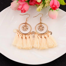 Load image into Gallery viewer, OIQUEI Wholesale Bohemian Retro Cloth Fringe Tassel Leaf Round Shaped Drop Dangle Earrings Women Boho Design Jewelry 10Pair/Lot