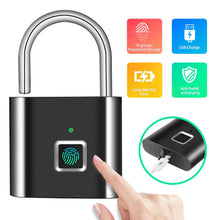 Load image into Gallery viewer, Security Door Lock Smart Keyless USB Rechargeable Fingerprint Padlock For Locker Sports School Zinc alloy Metal(No Key App Lock)