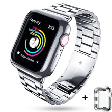 Load image into Gallery viewer, full screen protector case+metal strap for apple watch band 42mm 38mm apple watch 4 5 44mm 40mm iwatch 5/4/3/2/1 bracelet belt