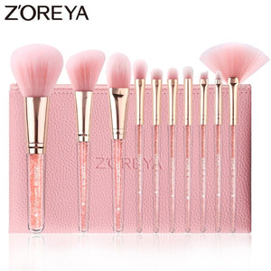 ZOREYA 10PCS Pink Crystal Makeup Brushes Foundation Concealer Blusher Make Up Brush Set Super Soft Synthetic Hair Cosmetic Tools