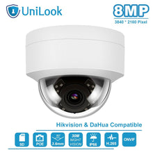 Load image into Gallery viewer, Hikvision Compatible 4K 8MP Dome Outdoor Security Camera POE H.265 Built-in SD Card Slot CCTV IP Camera ONVIF IR 30m