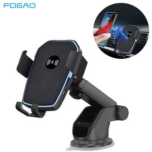FDGAO 10W Qi Wireless Car Charger For iPhone XS Max XR X 8 11 Samsung S10 S9 S8 Note 10 9 8 Fast Charging Car Phone Holder Stand
