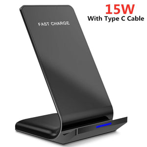 15W Qi Wireless Charger Stand For iPhone 11 Pro X XS Max XR 8 Samsung S20 S10 Note 10 9 Fast Charging Dock Station Phone Holder