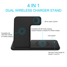 Load image into Gallery viewer, 4 in 1 Qi Wireless Charger Stand For iphone 11 XR XS X Charger Dock Station For Airpods Pro Watch 5 4 3 2 QI Wireless charger