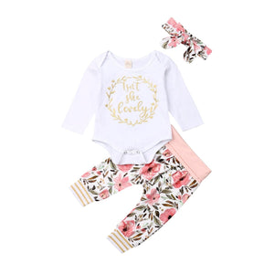Baby Girls Clothes Set 2019 Toddler Infant Newborn Autumn Long Sleeve Letter Bodysuit Flower Pants Headband Outfit 3PCS Clothing - shopsatang.com