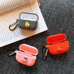 AXBETY For AirPods Pro Case Cute Avocado Orange Peach DIY Earphone Case For Airpods 3 Soft Silicone Protect Cover with Keychain