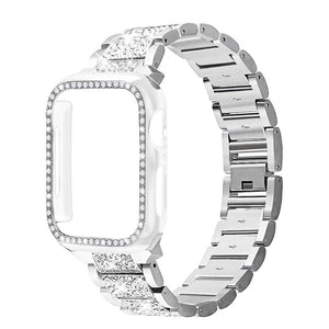 Band + Case Metal Strap For Apple Watch  Series 5 Strap 40mm 44mm Diamond Ring 38mm 42mm Stainless Steel Bracelet iwatch 4/3/2/1 - shopsatang.com