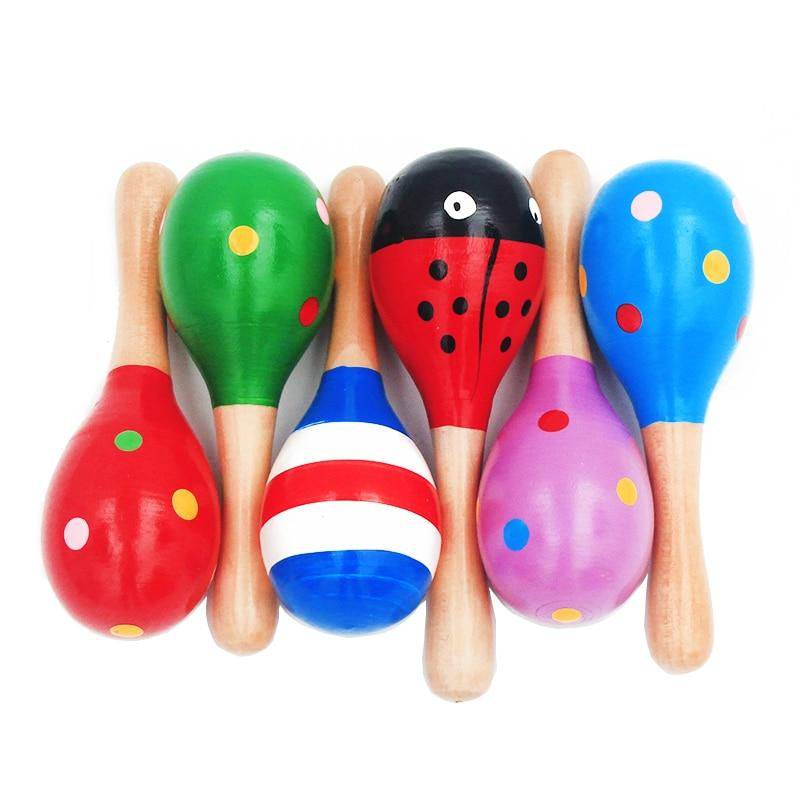 1Pc 12x4cm Infant & Toddlers Wood Sand Hammer Wooden Maraca Rattles Sand Hammer Kids Musical Party Favor Child Baby Shaker Toy - shopsatang.com