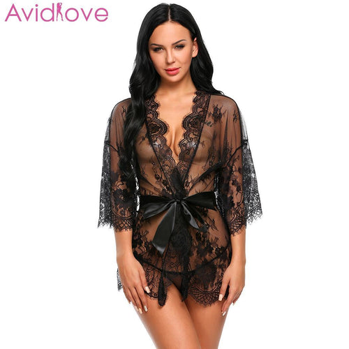 Avidlove Women Sexy Lace  Erotic Sets Transparent Hot Mesh lingerie Night Dressing Robe with Belt G-string Clear Nightgown