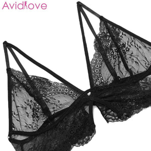 Avidlove Plus Size Women Sexy Bra Set Intimates Embroidery Lingerie High Waist Transparent Bralette Seamless Sexy Underwear