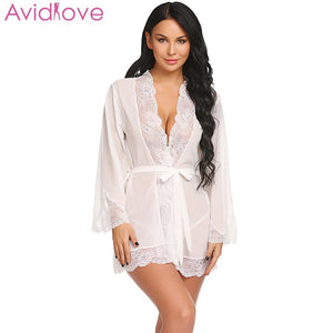 Avidlove Women Sexy Lingerie Cotton Plus Size Erotic Lingerie Long Sleeve Lace Nightwear Summer Babydoll Sexy Uderwear Clothes