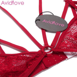 Avidlove Sexy Lingerie Set Sleepwear Erotic Underwear Women Sexy Lingerie Set Unlined Halter Lace Bra and Thong Brief