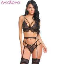 Load image into Gallery viewer, Avidlove Plus Size Women Sexy Bra Set Intimates Embroidery Lingerie High Waist Transparent Bralette Seamless Sexy Underwear
