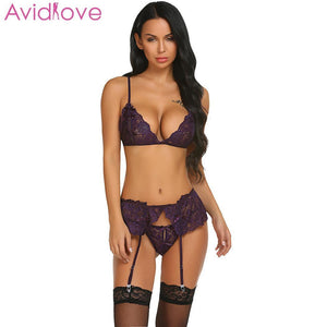 Avidlove Babydoll Sexy Mujer Bra Porn Hollow Sexy Lingerie Set Women Hot Erotic Women Lenceria Underwear Costumes