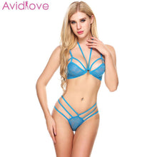 Load image into Gallery viewer, Avidlove Sexy Lingerie Set Sleepwear Erotic Underwear Women Sexy Lingerie Set Unlined Halter Lace Bra and Thong Brief