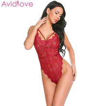 Load image into Gallery viewer, Avidlove Babydoll Sexy Bodysuit Women Sexy Lingerie Nightwear V-Neck Sleeveless Lace See Through Lingerie Sleepwear Bodysuit