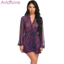 Load image into Gallery viewer, Avidlove Women Sexy Lingerie Cotton Plus Size Erotic Lingerie Long Sleeve Lace Nightwear Summer Babydoll Sexy Uderwear Clothes